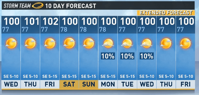 100 degree forecast