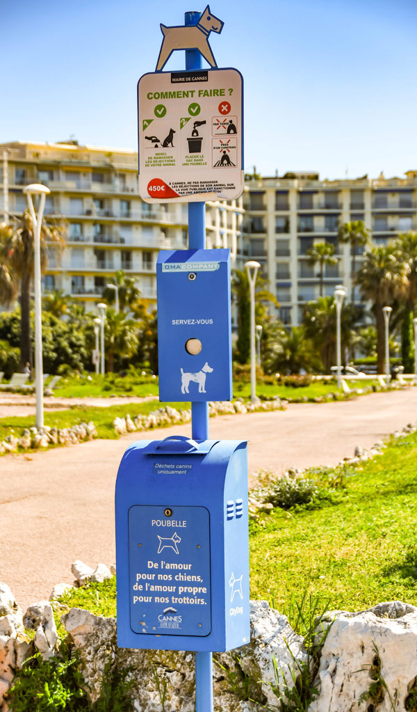 Dog poop sign in Cannes, France