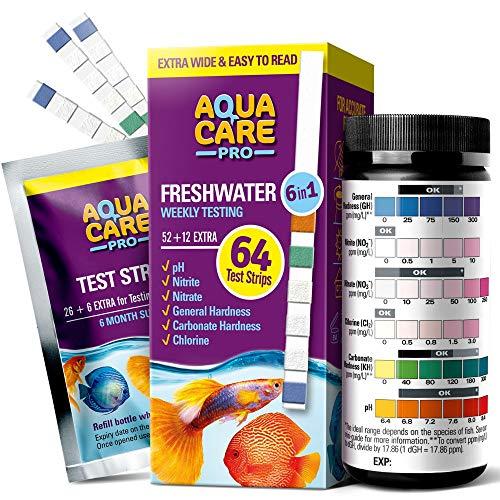 Freshwater Aquarium Test Strips 6 in 1 - Fish Tank Test Kit for Testing pH Nitrite Nitrate Chlorine...