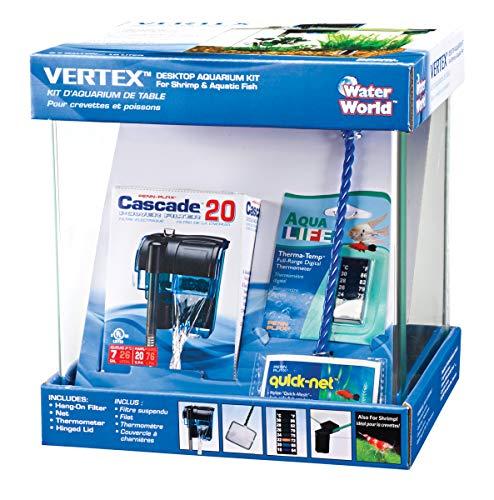 Penn-Plax Water-World Vertex Desktop Aquarium Kit - Perfect for Shrimp & Small Fish - 2.7 Gallon...