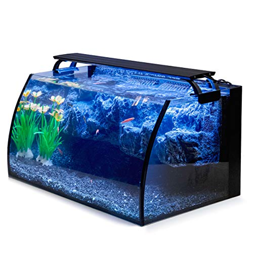 Hygger Horizon 8 Gallon LED Glass Aquarium Kit for Starters with 7W Power Filter Pump, 18W Colored...