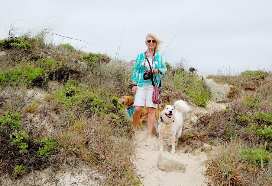 walking with our girl dogs, Irie and Tiki